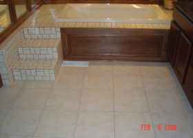 blacklick soaker tub leak repaired leak relocated steps to create custom access panel  replaced ceramic tile floor after i-305-280-200-80-c